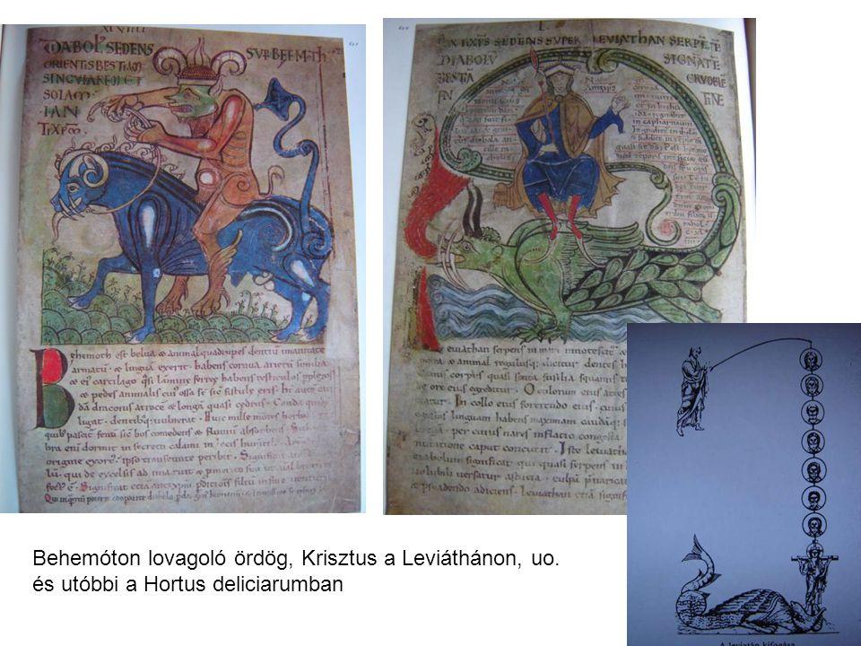 Behemóton lovagoló ördög, Krisztus a Leviáthánon, uo. és utóbbi a Hortus deliciarumban