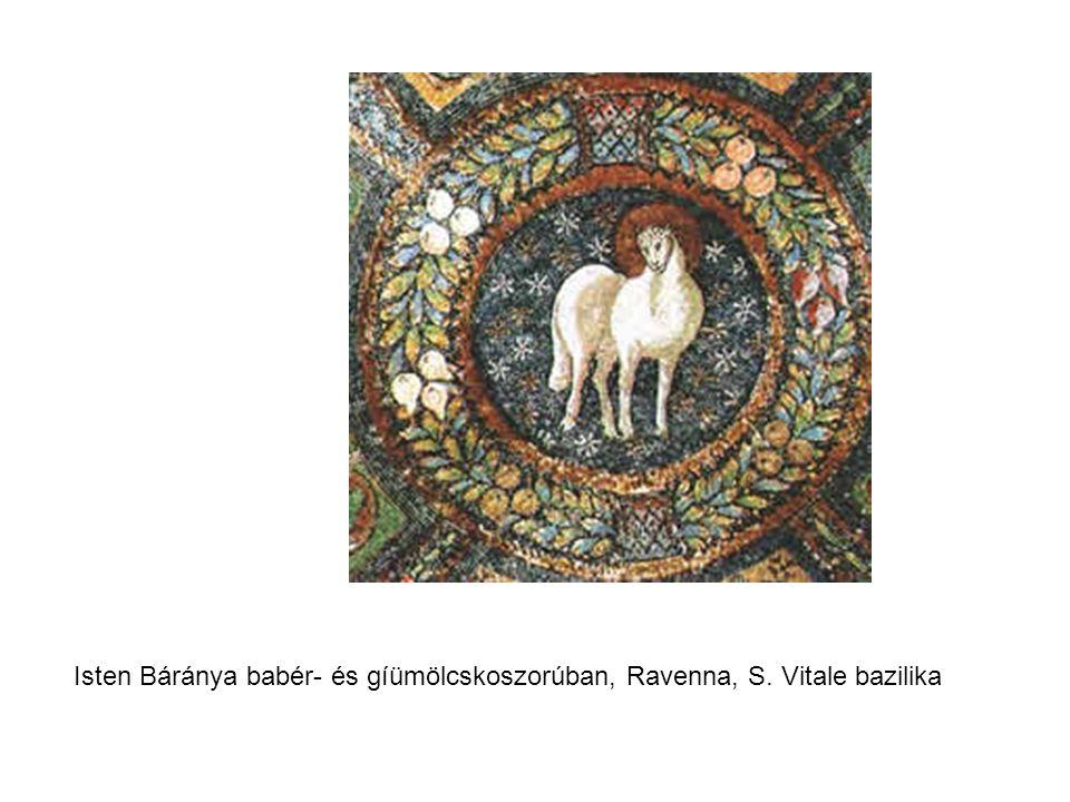 Isten Báránya babér- és gíümölcskoszorúban, Ravenna, S. Vitale bazilika