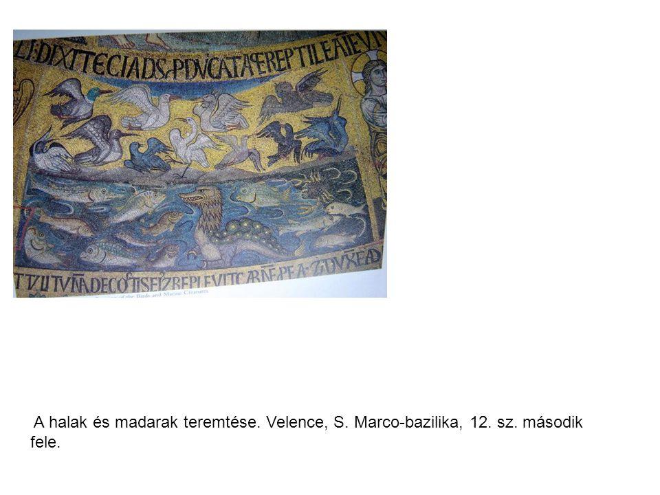 A halak és madarak teremtése. Velence, S. Marco-bazilika, 12. sz. második fele.