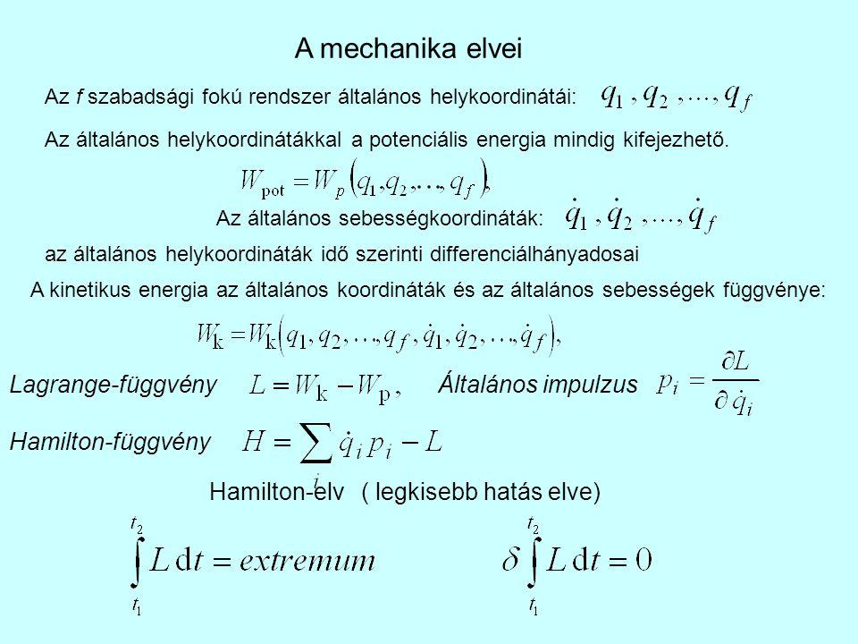 Egyetlen tömegpont általános koordinátái legyenek q 1 =x, q 2 =y és q 3 =z, potenciális energiája W p (x, y, z), kinetikus energiája pedig A Lagrange-függvény Az Euler egyenletek a Newton-mozgásegyenleteket kaptuk vissza.