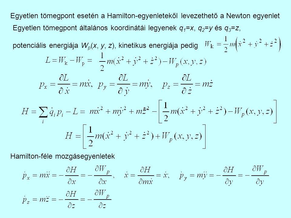 Egyetlen tömegpont esetén a Hamilton-egyenletekől levezethető a Newton egyenlet Egyetlen tömegpont általános koordinátái legyenek q 1 =x, q 2 =y és q