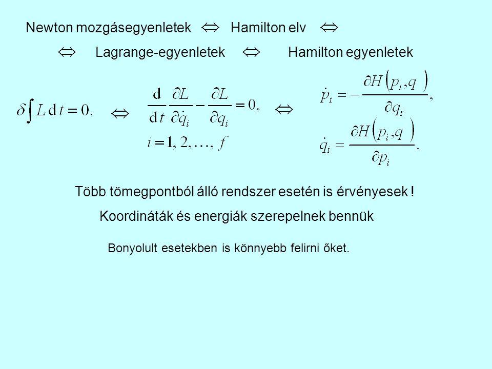 Hamilton elv Lagrange-egyenletekHamilton egyenletek Newton mozgásegyenletek Több tömegpontból álló rendszer esetén is érvényesek ! Koordináták és ener