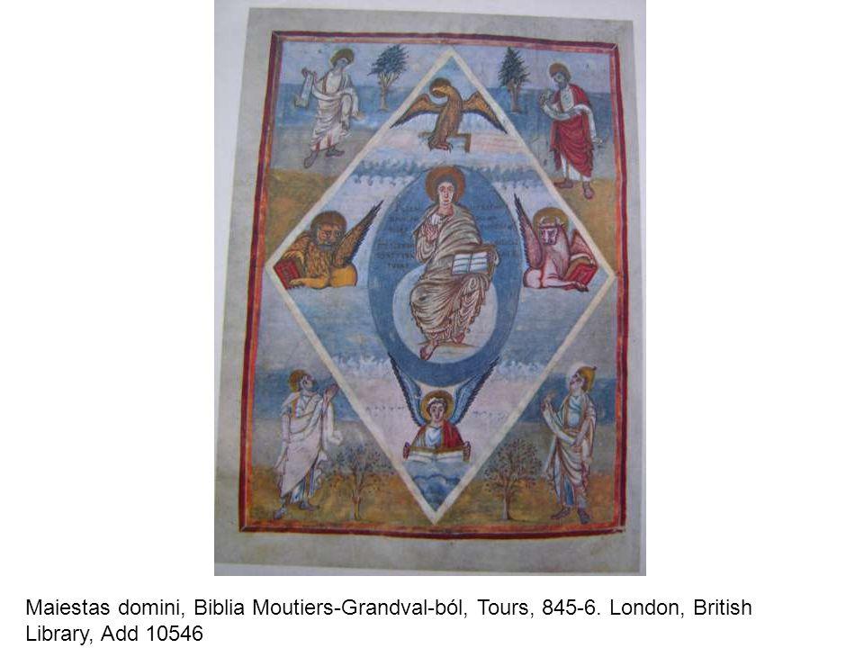 Maiestas domini, Biblia Moutiers-Grandval-ból, Tours, 845-6. London, British Library, Add 10546