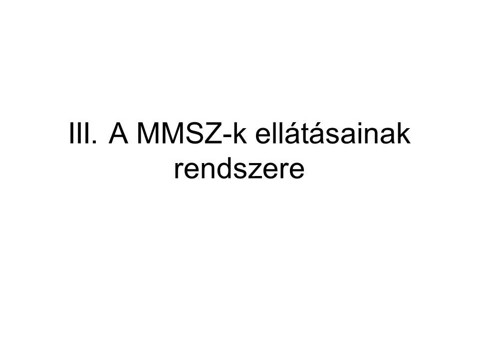 III. A MMSZ-k ellátásainak rendszere