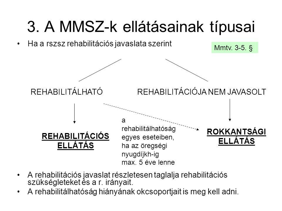 3. A MMSZ-k ellátásainak típusai Ha a rszsz rehabilitációs javaslata szerint A rehabilitációs javaslat részletesen taglalja rehabilitációs szükséglete