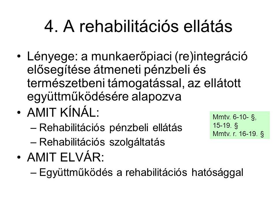 4. A rehabilitációs ellátás Lényege: a munkaerőpiaci (re)integráció elősegítése átmeneti pénzbeli és természetbeni támogatással, az ellátott együttműk