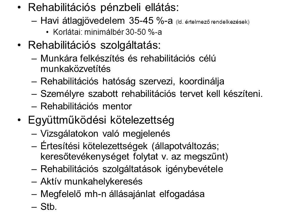 Rehabilitációs pénzbeli ellátás: –Havi átlagjövedelem 35-45 %-a (ld. értelmező rendelkezések) Korlátai: minimálbér 30-50 %-a Rehabilitációs szolgáltat
