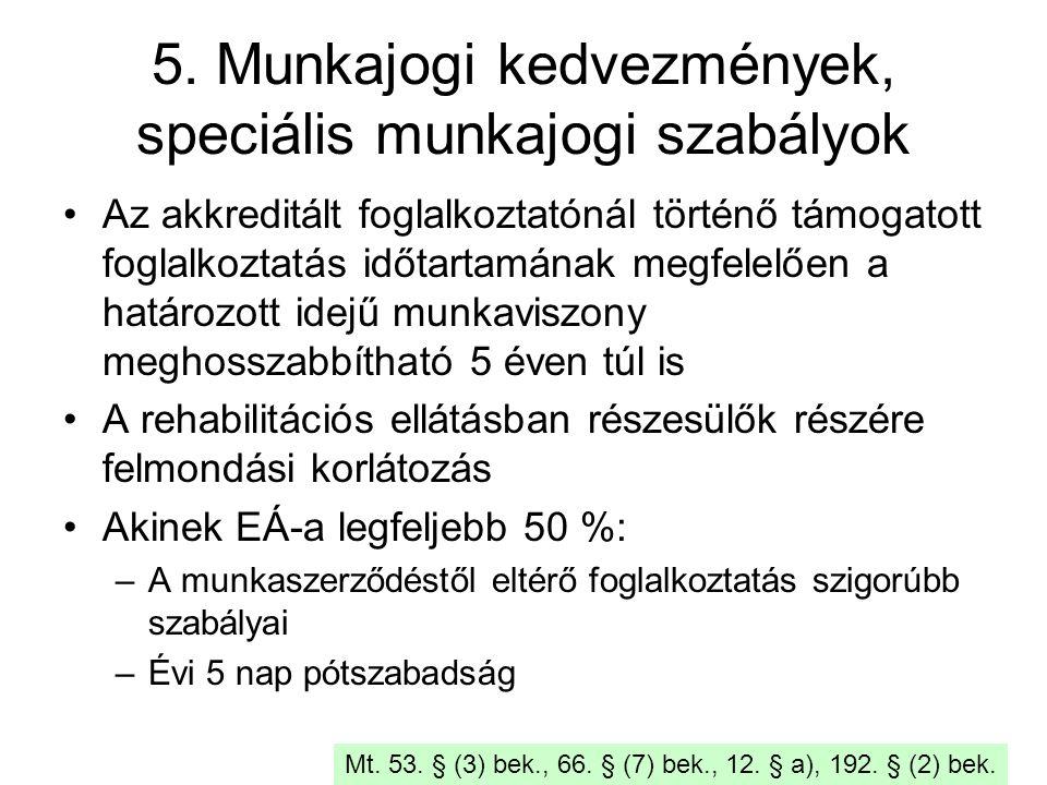 5. Munkajogi kedvezmények, speciális munkajogi szabályok Az akkreditált foglalkoztatónál történő támogatott foglalkoztatás időtartamának megfelelően a