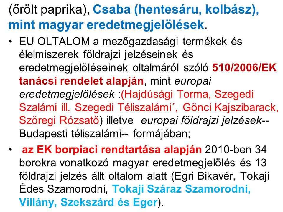 (őrölt paprika), Csaba (hentesáru, kolbász), mint magyar eredetmegjelölések. EU OLTALOM a mezőgazdasági termékek és élelmiszerek földrajzi jelzéseinek