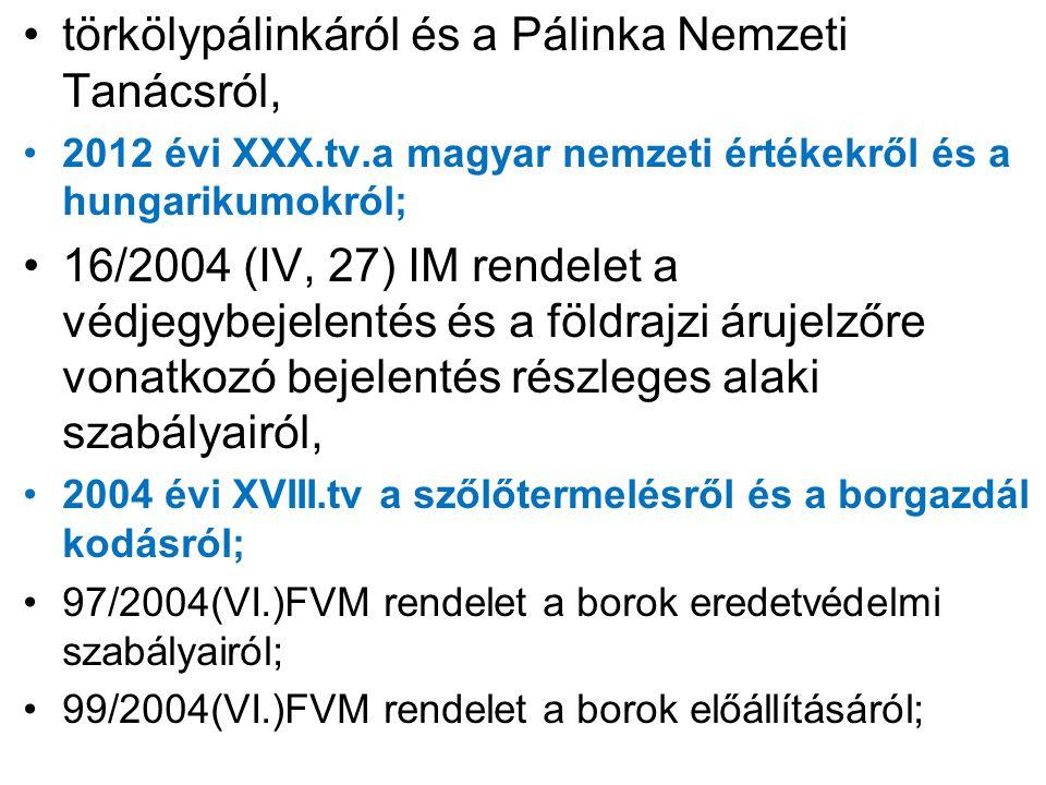 törkölypálinkáról és a Pálinka Nemzeti Tanácsról, 2012 évi XXX.tv.a magyar nemzeti értékekről és a hungarikumokról; 16/2004 (IV, 27) IM rendelet a véd