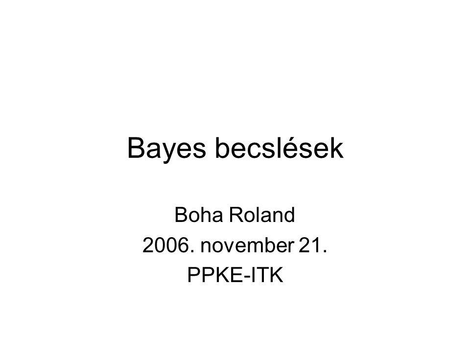 Bayes becslések Boha Roland 2006. november 21. PPKE-ITK