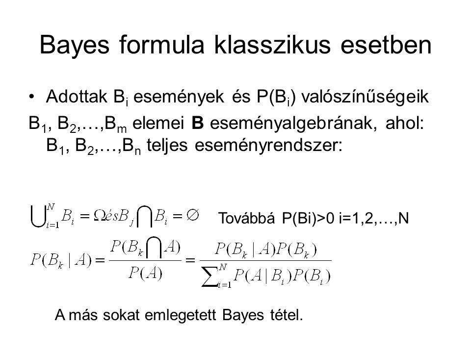 Bayes formula klasszikus esetben Adottak B i események és P(B i ) valószínűségeik B 1, B 2,…,B m elemei B eseményalgebrának, ahol: B 1, B 2,…,B n teljes eseményrendszer: Továbbá P(Bi)>0 i=1,2,…,N A más sokat emlegetett Bayes tétel.