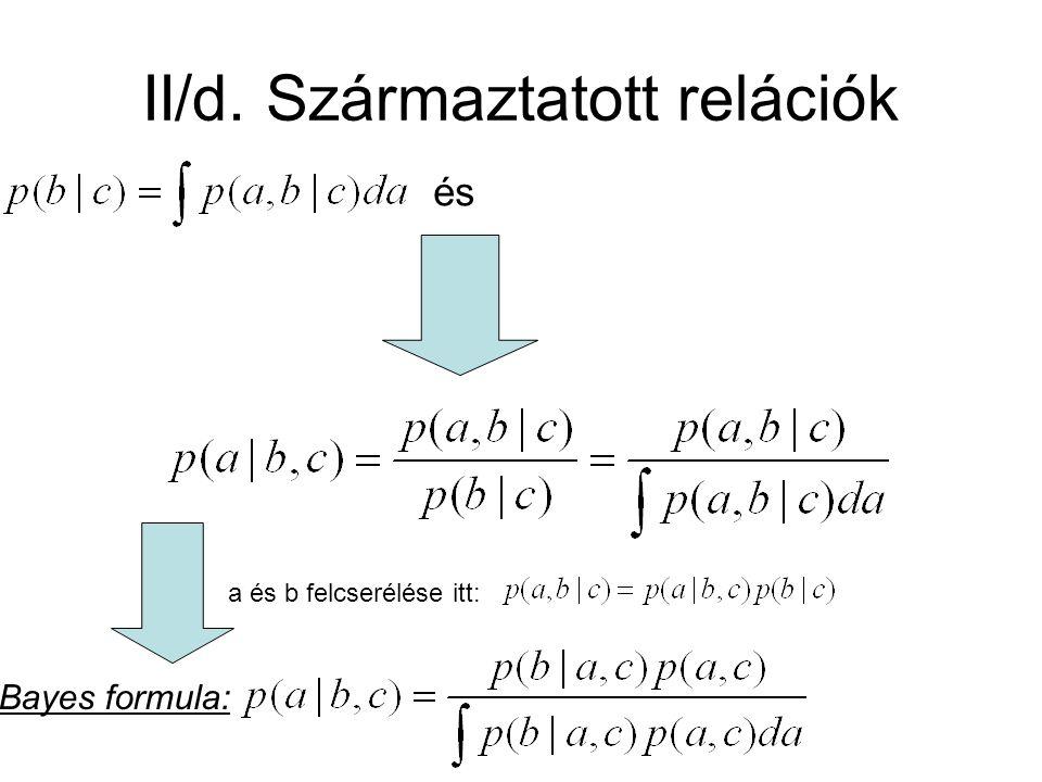 II/d. Származtatott relációk és a és b felcserélése itt: Bayes formula: