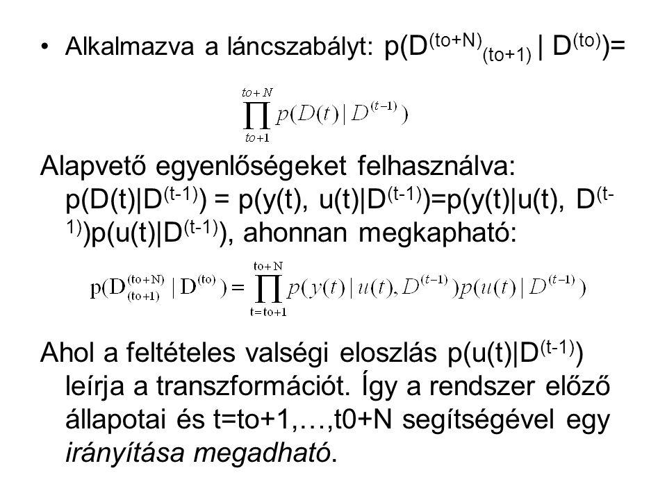 Alkalmazva a láncszabályt: p(D (to+N) (to+1) | D (to) )= Alapvető egyenlőségeket felhasználva: p(D(t)|D (t-1) ) = p(y(t), u(t)|D (t-1) )=p(y(t)|u(t), D (t- 1) )p(u(t)|D (t-1) ), ahonnan megkapható: Ahol a feltételes valségi eloszlás p(u(t)|D (t-1) ) leírja a transzformációt.