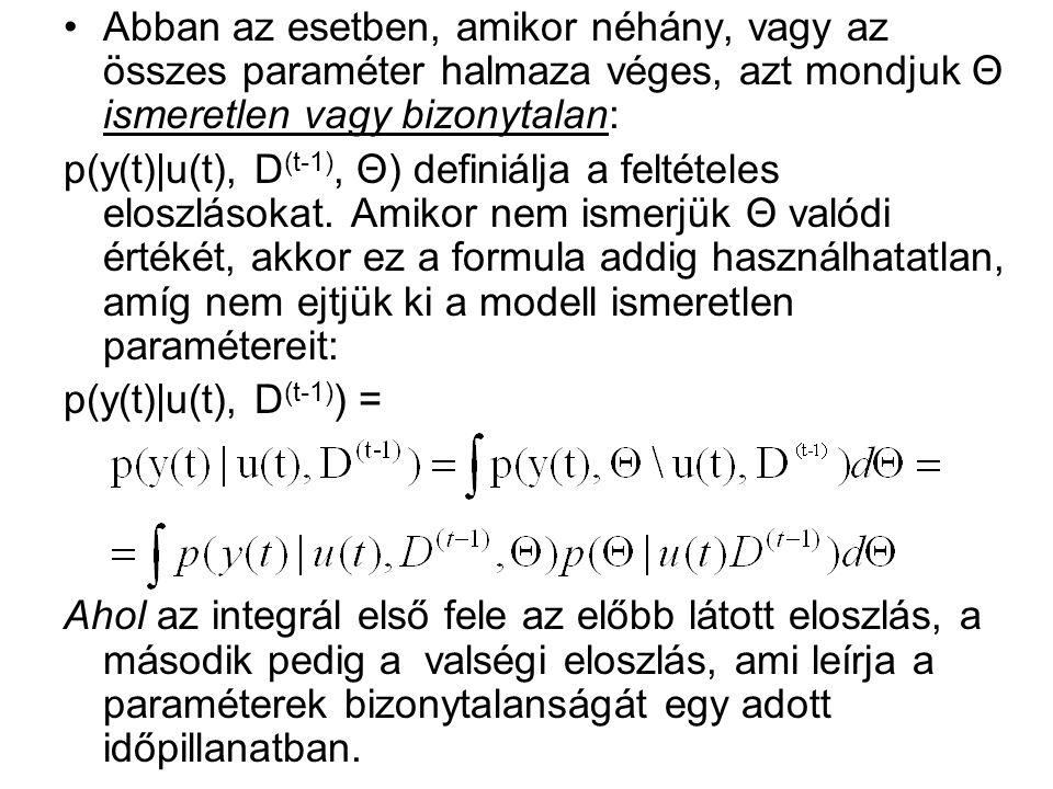 Abban az esetben, amikor néhány, vagy az összes paraméter halmaza véges, azt mondjuk Θ ismeretlen vagy bizonytalan: p(y(t)|u(t), D (t-1), Θ) definiálja a feltételes eloszlásokat.