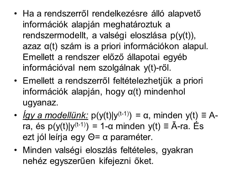 Ha a rendszerről rendelkezésre álló alapvető információk alapján meghatároztuk a rendszermodellt, a valségi eloszlása p(y(t)), azaz α(t) szám is a priori információkon alapul.