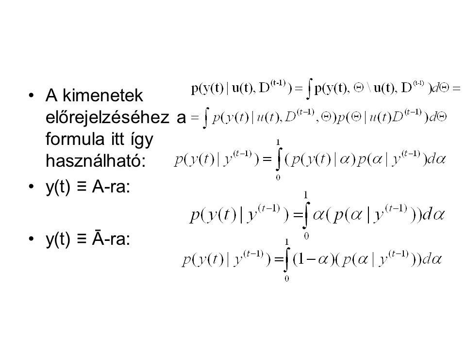 A kimenetek előrejelzéséhez a formula itt így használható: y(t) ≡ A-ra: y(t) ≡ Ā-ra:
