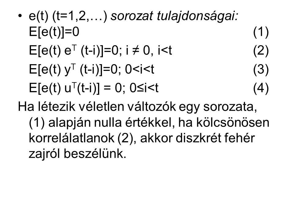 e(t) (t=1,2,…) sorozat tulajdonságai: E[e(t)]=0 (1) E[e(t) e T (t-i)]=0; i ≠ 0, i<t (2) E[e(t) y T (t-i)]=0; 0<i<t (3) E[e(t) u T (t-i)] = 0; 0≤i<t (4) Ha létezik véletlen változók egy sorozata, (1) alapján nulla értékkel, ha kölcsönösen korrelálatlanok (2), akkor diszkrét fehér zajról beszélünk.