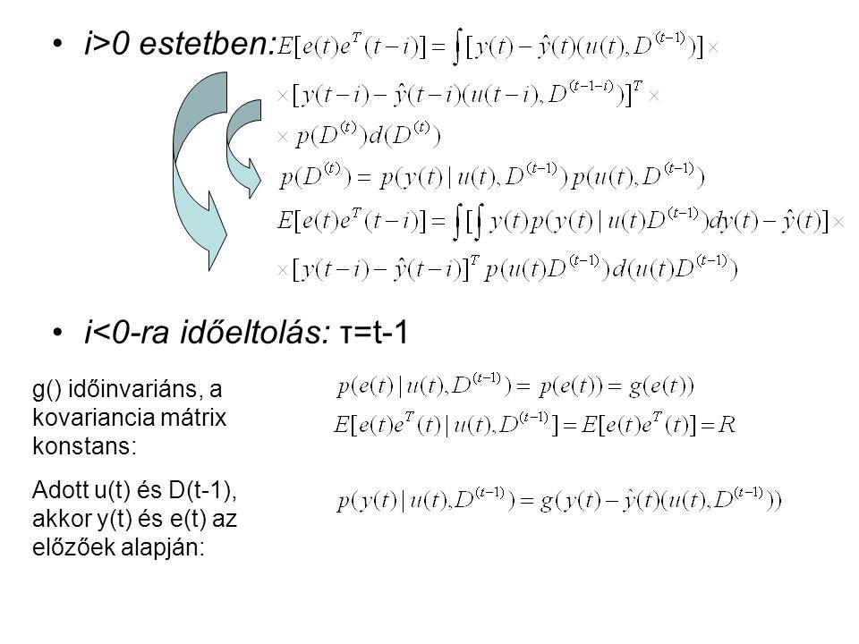 i>0 estetben: i<0-ra időeltolás: τ=t-1 g() időinvariáns, a kovariancia mátrix konstans: Adott u(t) és D(t-1), akkor y(t) és e(t) az előzőek alapján: