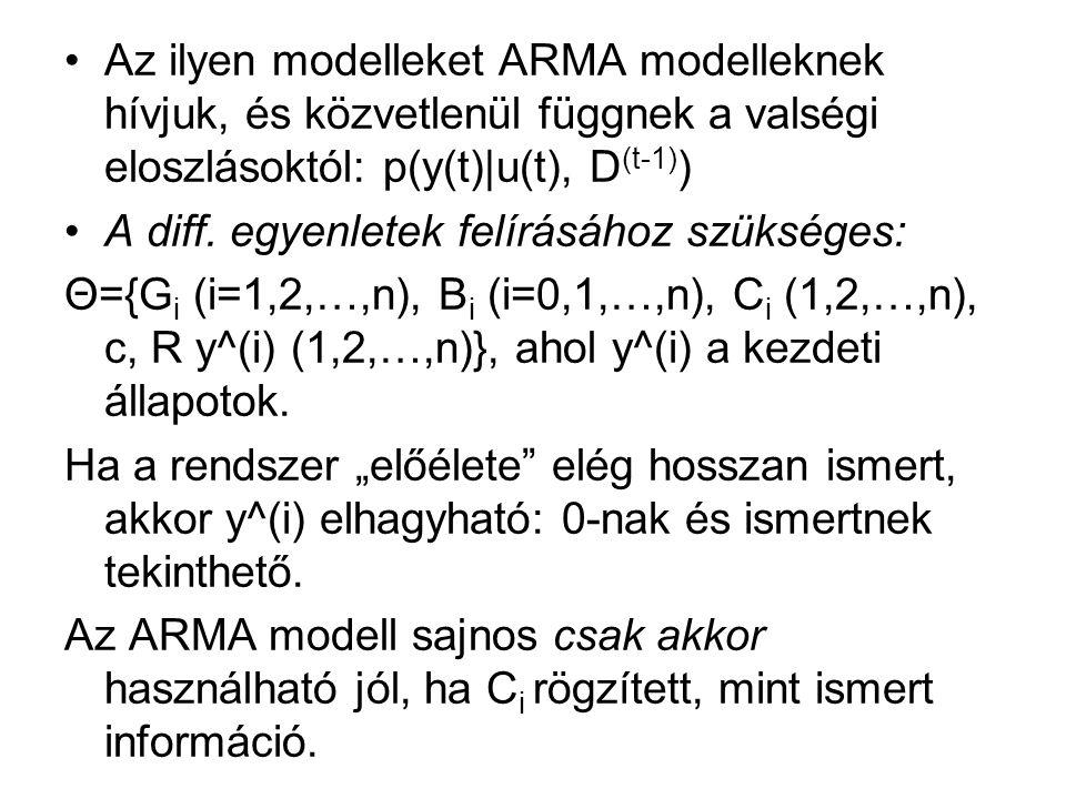 Az ilyen modelleket ARMA modelleknek hívjuk, és közvetlenül függnek a valségi eloszlásoktól: p(y(t)|u(t), D (t-1) ) A diff.