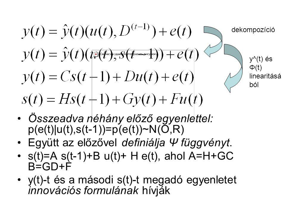 Összeadva néhány előző egyenlettel: p(e(t)|u(t),s(t-1))=p(e(t))~N(O,R) Együtt az előzővel definiálja Ψ függvényt.