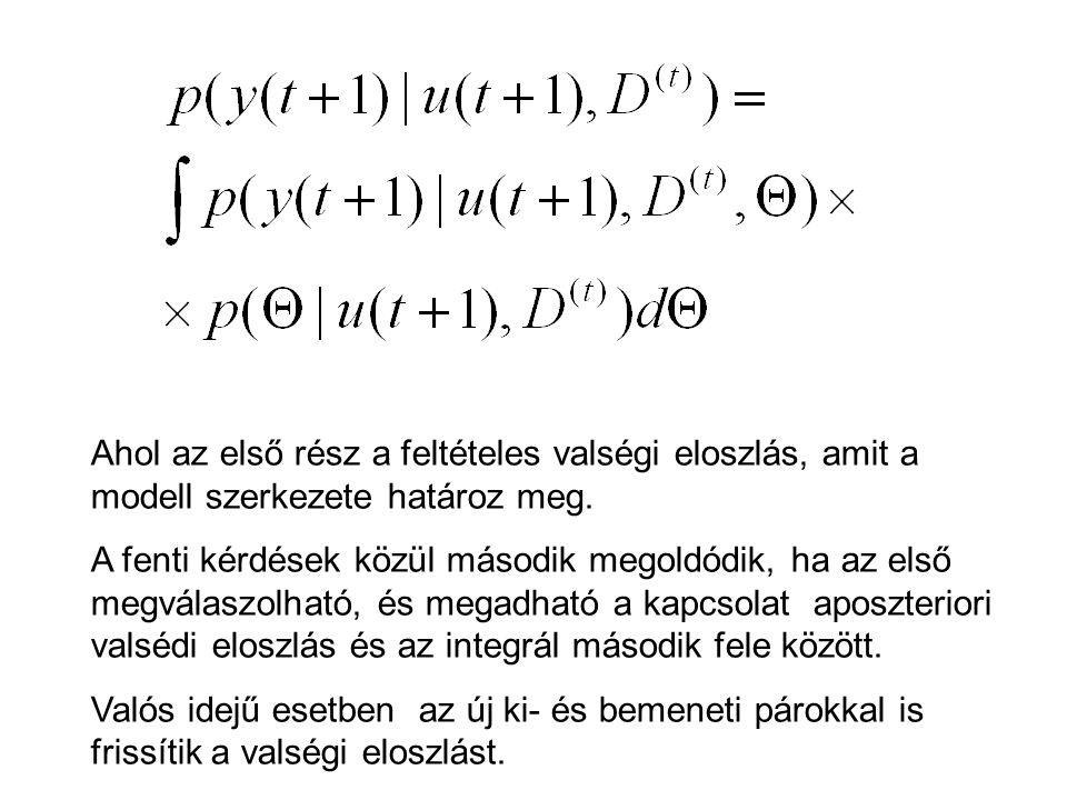 Ahol az első rész a feltételes valségi eloszlás, amit a modell szerkezete határoz meg.