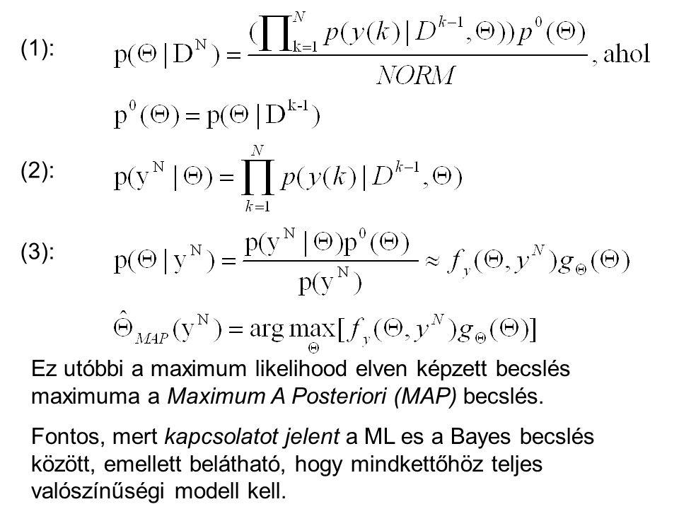 (1): (2): (3): Ez utóbbi a maximum likelihood elven képzett becslés maximuma a Maximum A Posteriori (MAP) becslés.