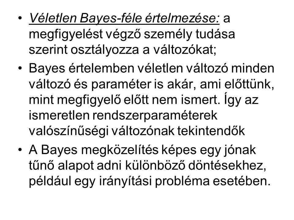 Véletlen Bayes-féle értelmezése: a megfigyelést végző személy tudása szerint osztályozza a változókat; Bayes értelemben véletlen változó minden változó és paraméter is akár, ami előttünk, mint megfigyelő előtt nem ismert.