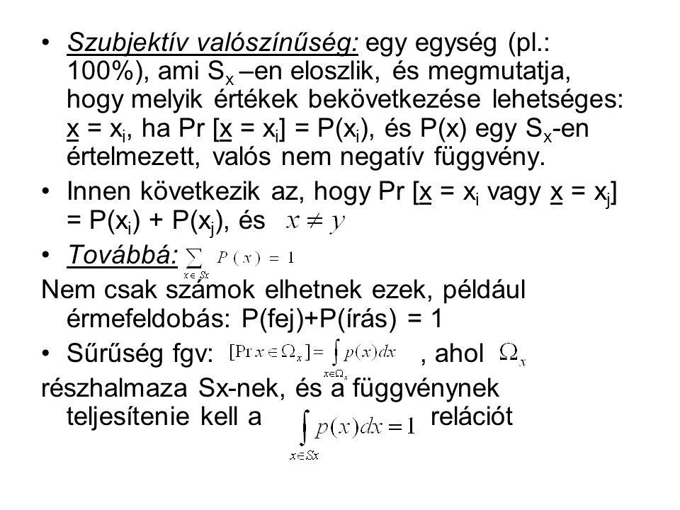 Szubjektív valószínűség: egy egység (pl.: 100%), ami S x –en eloszlik, és megmutatja, hogy melyik értékek bekövetkezése lehetséges: x = x i, ha Pr [x = x i ] = P(x i ), és P(x) egy S x -en értelmezett, valós nem negatív függvény.