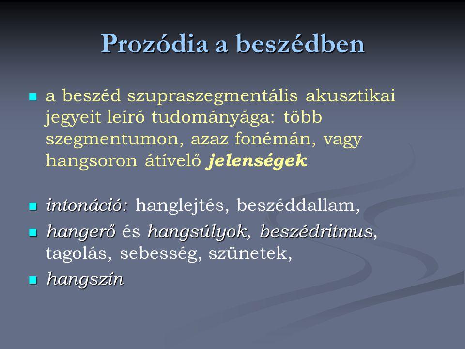 Prozódia a beszédben a beszéd szupraszegmentális akusztikai jegyeit leíró tudományága: több szegmentumon, azaz fonémán, vagy hangsoron átívelő jelenségek intonáció: intonáció: hanglejtés, beszéddallam, hangerőhangsúlyokbeszédritmus hangerő és hangsúlyok, beszédritmus, tagolás, sebesség, szünetek, hangszín hangszín