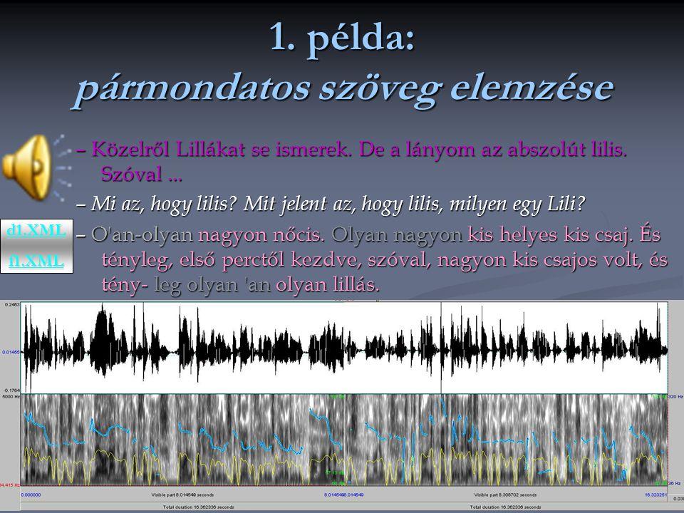 1.példa: pármondatos szöveg elemzése – Közelről Lillákat se ismerek.