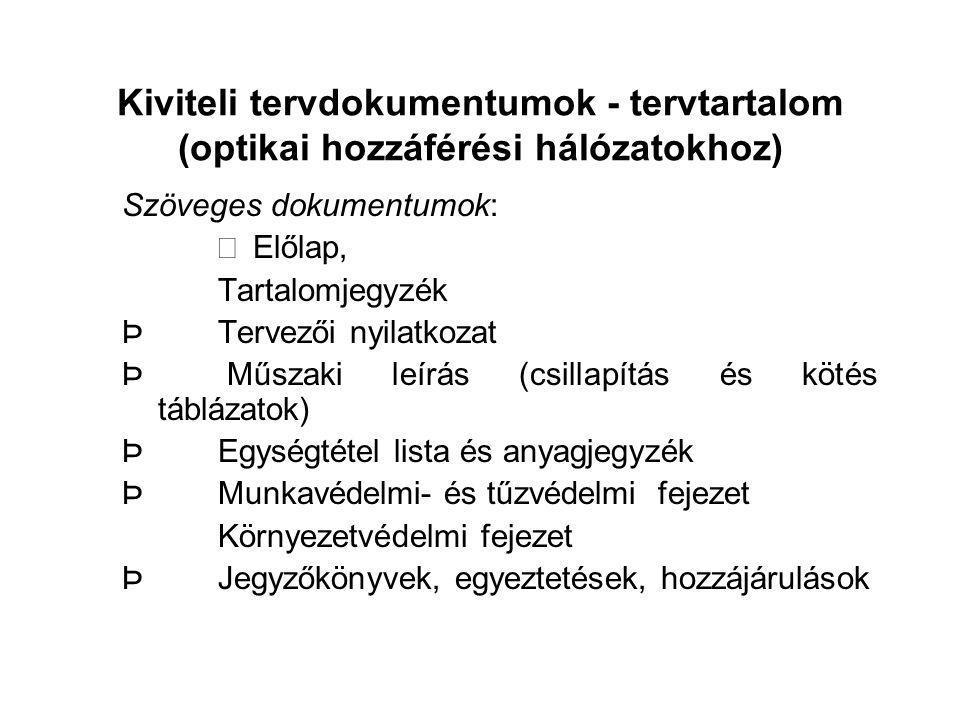 Kiviteli tervdokumentumok - tervtartalom (optikai hozzáférési hálózatokhoz) Szöveges dokumentumok:  Előlap, Tartalomjegyzék ÞTervezői nyilatkozat Þ M