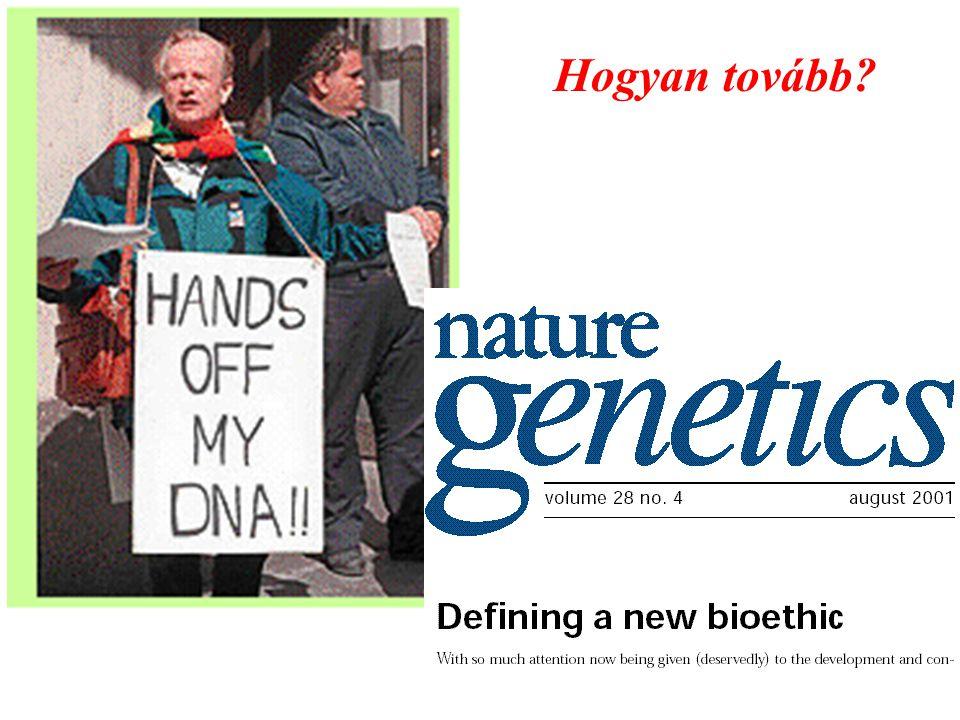 BIOINFORMATIKAI ROBBANÁS  1 éven belül humán genom teljes annotációja  nemzetközi adatbankok web-en betegség-, gyógyszerérzékenység gének alkalmassági (?) gének identitás megállapítására alkalmas gének …..