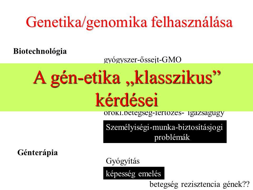 Genetika/genomika felhasználása Biotechnológia gyógyszer-őssejt-GMO drog-GMO/mellékhatások/ökológia Géndiagnosztika örökl.betegség-fertőzés- igazságüg