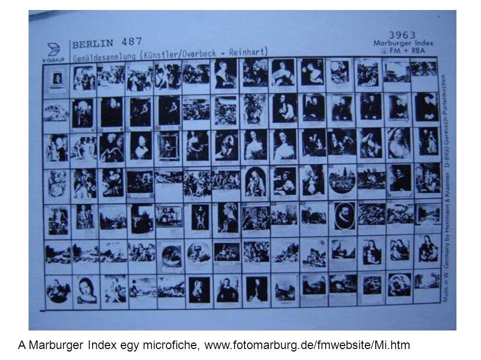 A Marburger Index egy microfiche, www.fotomarburg.de/fmwebsite/Mi.htm
