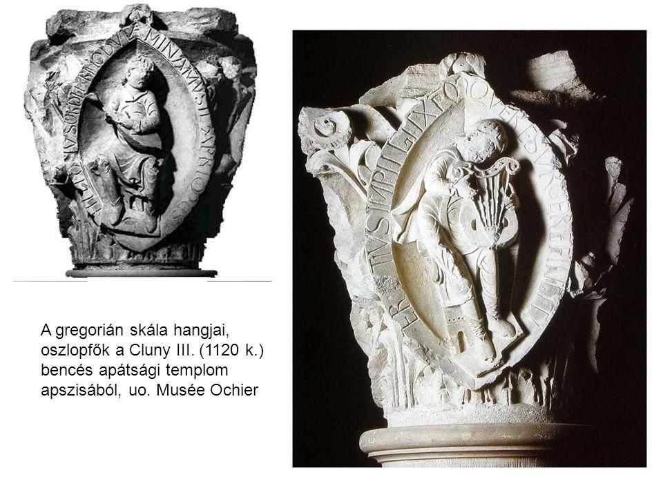 A gregorián skála hangjai, oszlopfők a Cluny III.(1120 k.) bencés apátsági templom apszisából, uo.