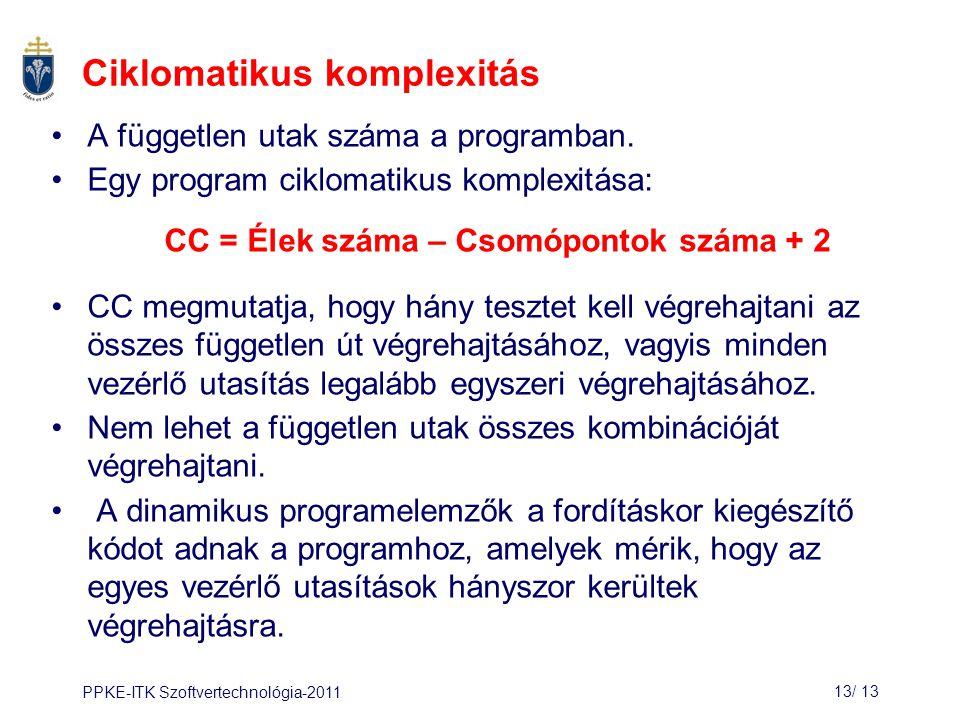 PPKE-ITK Szoftvertechnológia-201113/ 13 Ciklomatikus komplexitás A független utak száma a programban.