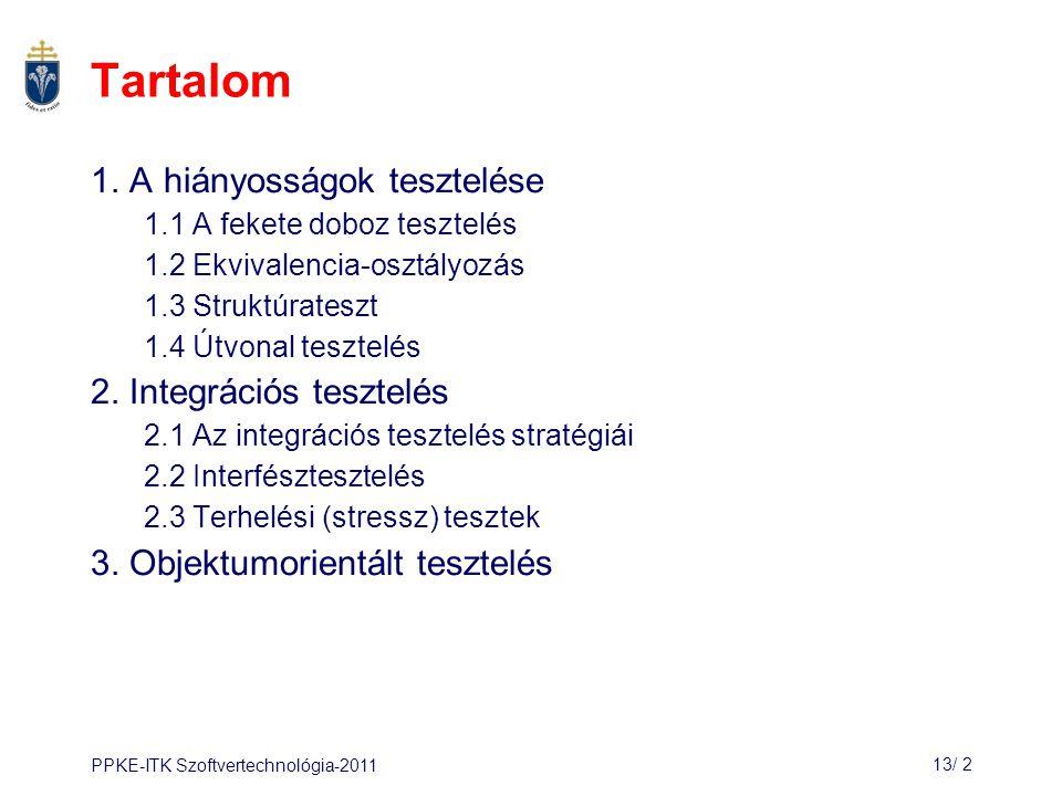 PPKE-ITK Szoftvertechnológia-201113/ 2 Tartalom 1.