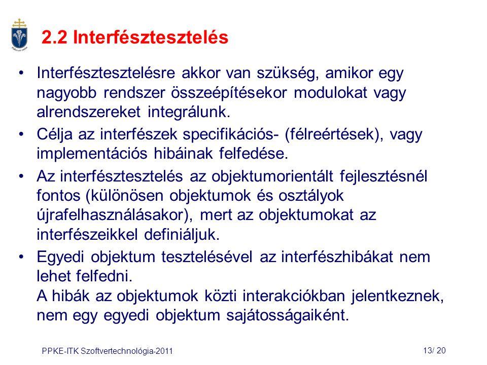 PPKE-ITK Szoftvertechnológia-201113/ 21 Interfész típusok Paraméter interfészek: –Adatok továbbítása az egyik alrendszertől a másikhoz.