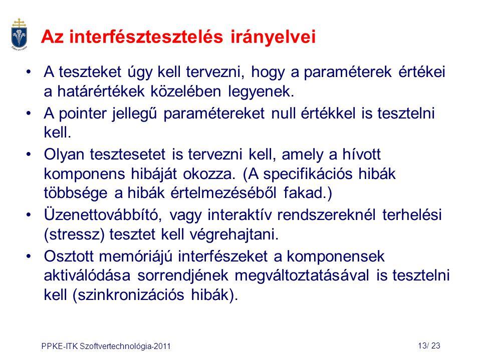 PPKE-ITK Szoftvertechnológia-201113/ 24 2.3 Terhelési (stressz) tesztek A rendszereket a tervezettnél nagyobb terheléssel is tesztelni kell.