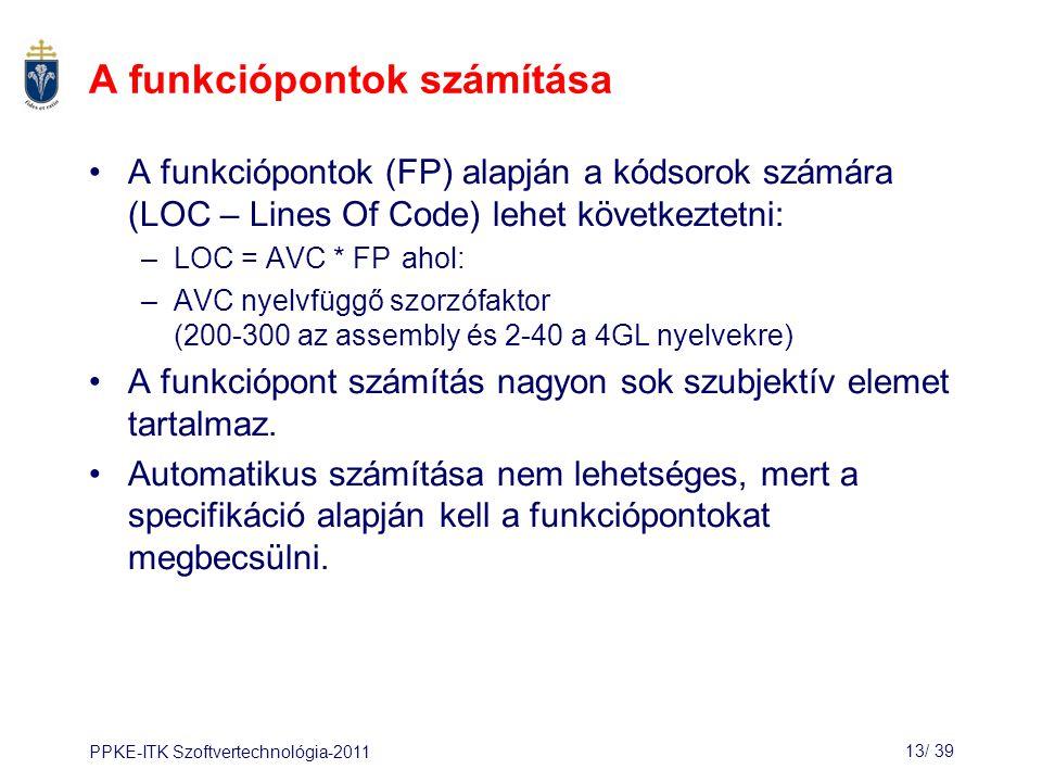 PPKE-ITK Szoftvertechnológia-201113/ 39 A funkciópontok számítása A funkciópontok (FP) alapján a kódsorok számára (LOC – Lines Of Code) lehet következtetni: –LOC = AVC * FP ahol: –AVC nyelvfüggő szorzófaktor (200-300 az assembly és 2-40 a 4GL nyelvekre) A funkciópont számítás nagyon sok szubjektív elemet tartalmaz.