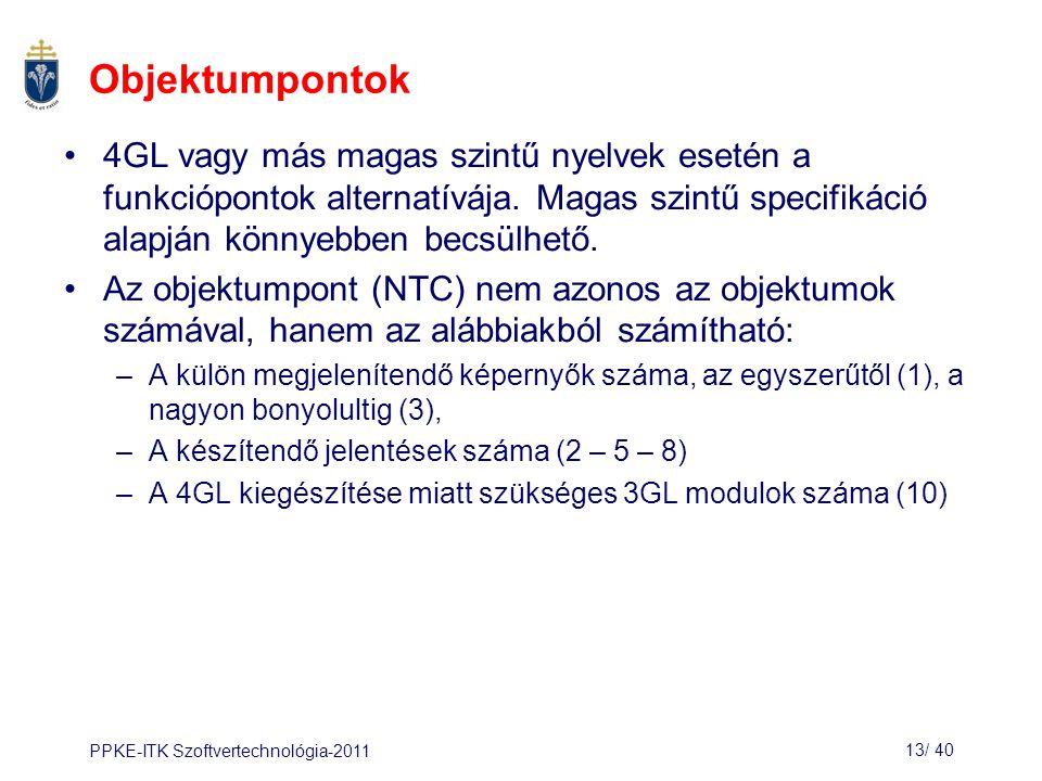 PPKE-ITK Szoftvertechnológia-201113/ 41 A termelékenység becslése Valósidejű, beültetett rendszerek: 40 – 160 LOC / hó Rendszerprogramok: 150 – 400 LOC / hó Kereskedelmi alkalmazások: 200 – 800 LOC / hó Objektumpontban számolva a termelékenység 4 és 50 pont / hónap közötti, az eszköztámogatottságtól és a fejlesztők képességeitől függően.
