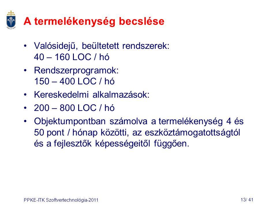 PPKE-ITK Szoftvertechnológia-201113/ 42 A termelékenységet befolyásoló tényezők Az alkalmazási terület ismerete: –A hatékony szoftverfejlesztéshez szükséges a szakterület ismerete.