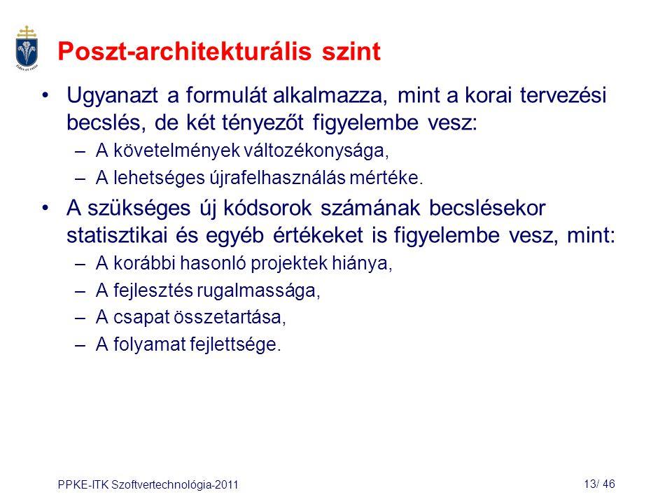 PPKE-ITK Szoftvertechnológia-201113/ 46 Poszt-architekturális szint Ugyanazt a formulát alkalmazza, mint a korai tervezési becslés, de két tényezőt fi