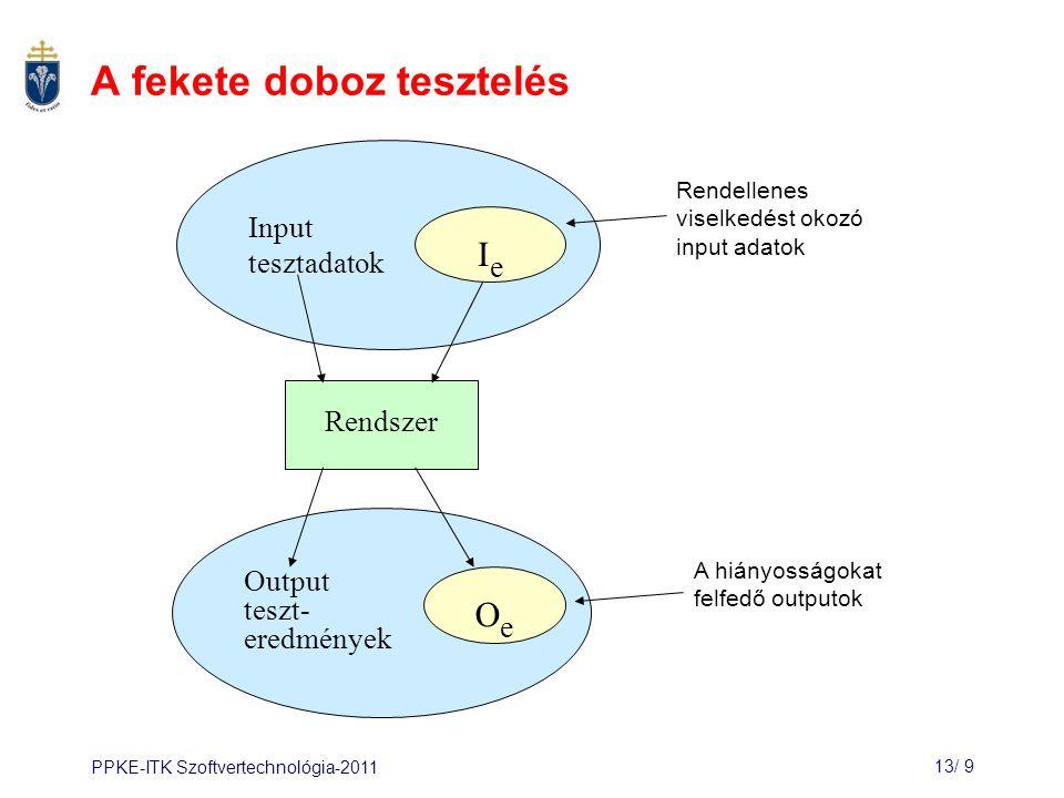 PPKE-ITK Szoftvertechnológia-201113/ 9 A fekete doboz tesztelés Rendszer Output teszt- eredmények Input tesztadatok OeOe IeIe Rendellenes viselkedést okozó input adatok A hiányosságokat felfedő outputok