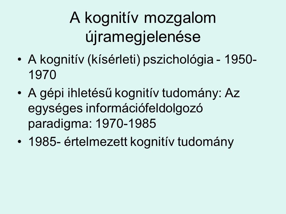 A kognitív mozgalom újramegjelenése A kognitív (kísérleti) pszichológia - 1950- 1970 A gépi ihletésű kognitív tudomány: Az egységes információfeldolgo