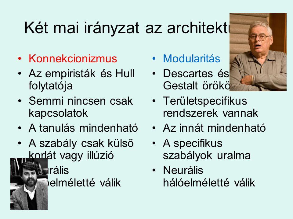 Két mai irányzat az architektúráról Konnekcionizmus Az empiristák és Hull folytatója Semmi nincsen csak kapcsolatok A tanulás mindenható A szabály csa