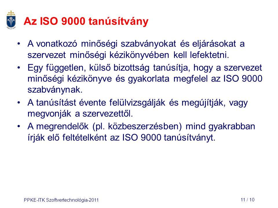 PPKE-ITK Szoftvertechnológia-201111 / 10 Az ISO 9000 tanúsítvány A vonatkozó minőségi szabványokat és eljárásokat a szervezet minőségi kézikönyvében k