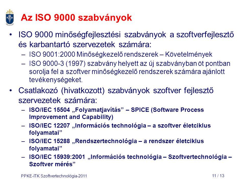 PPKE-ITK Szoftvertechnológia-201111 / 13 ISO 9000 minőségfejlesztési szabványok a szoftverfejlesztő és karbantartó szervezetek számára: –ISO 9001:2000