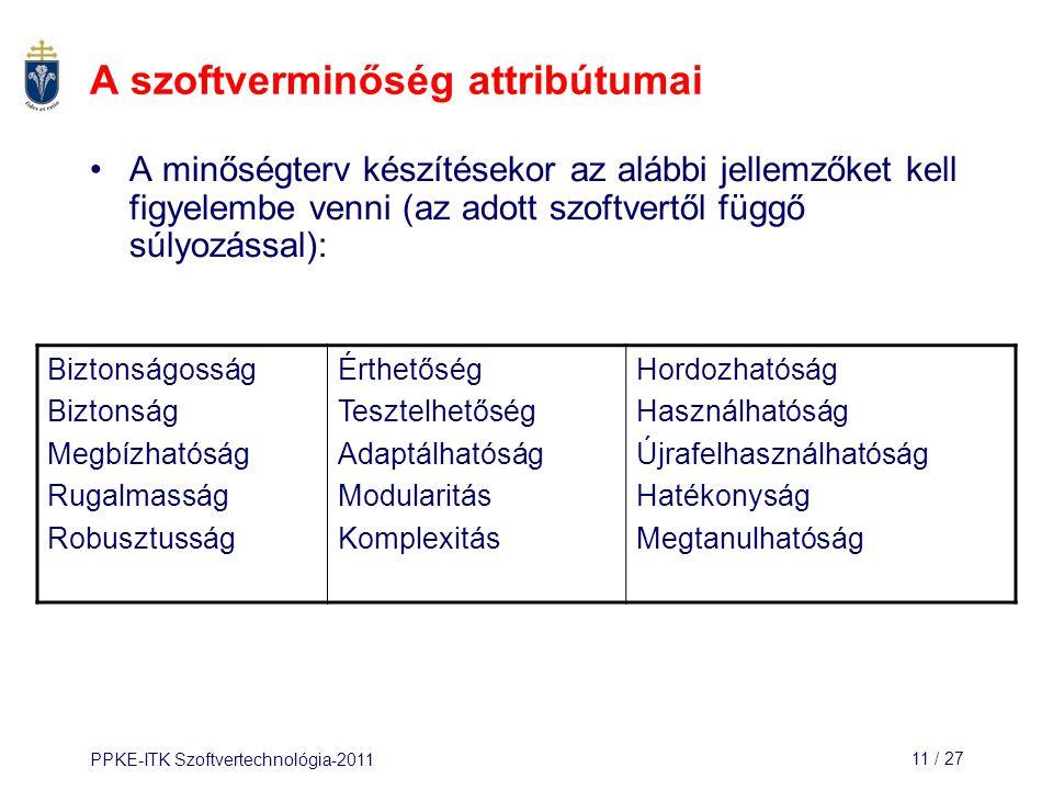 PPKE-ITK Szoftvertechnológia-201111 / 27 A szoftverminőség attribútumai A minőségterv készítésekor az alábbi jellemzőket kell figyelembe venni (az ado